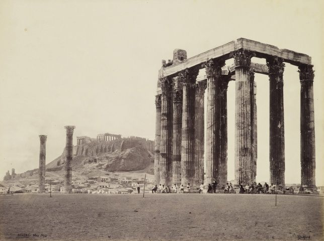 Acropolis and Temple of Jupiter Olympus [Olympieion, Athens]  31 May 1862. Francis Bedford (1815-94). Acquired by the Prince of Wales, 1862.