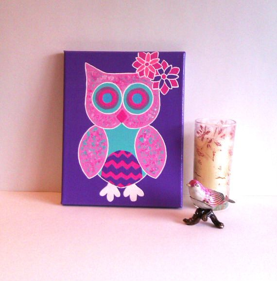 Pink Owl Acrylic Canvas Painting For Baby Girls Room By