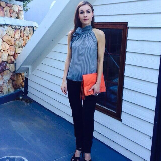 Stripe Bow-Tie Chiffon Top
