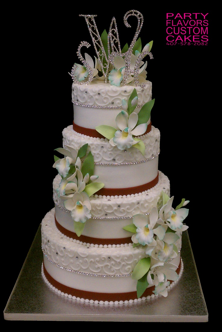 Teal Orchid Wedding Cake - the the design on the top of each layer
