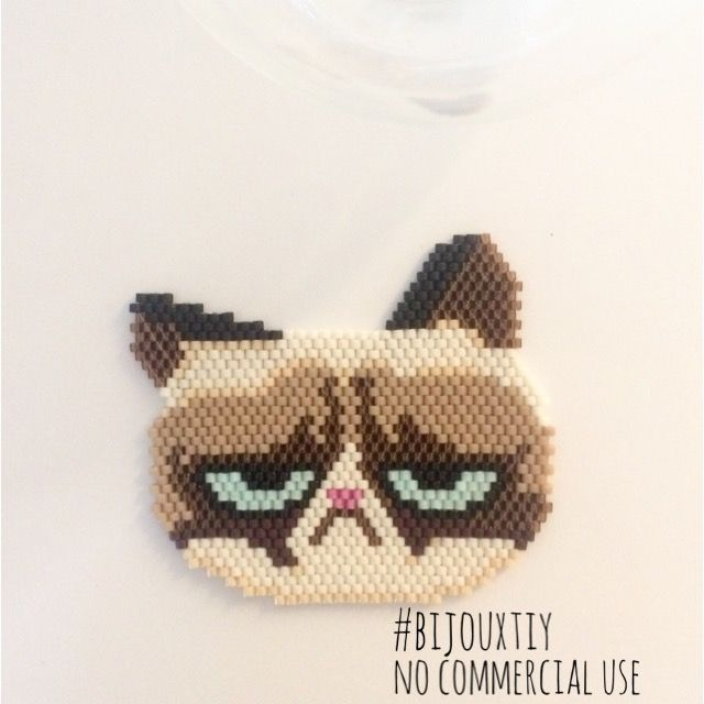 Grumpy Cat en perles Miyuki #bijouxtiy