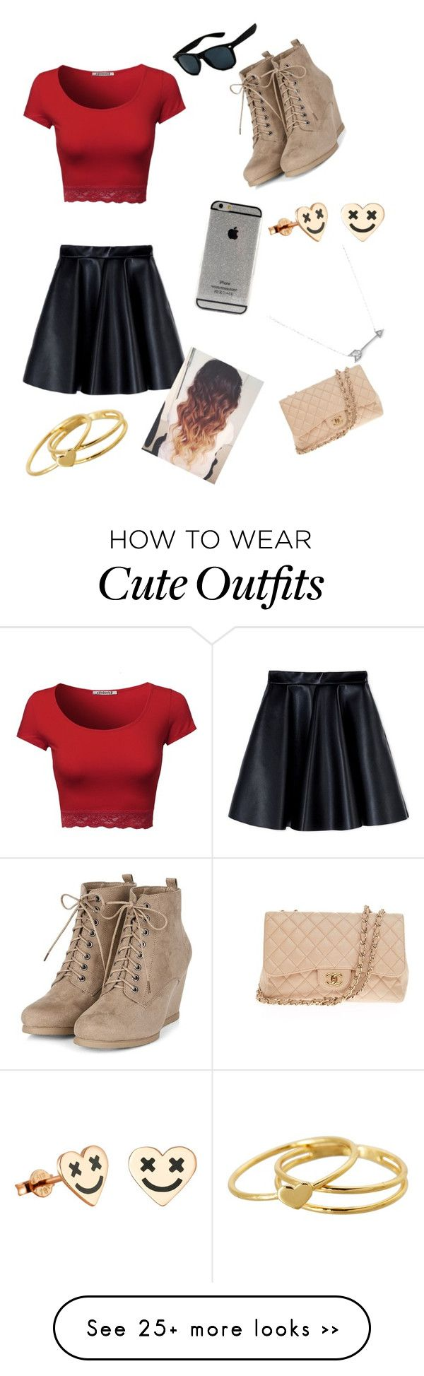"""cute outfit date night"" by victoriasierravs on Polyvore featuring MSGM, Gorjana, Chanel and Adina Reyter"