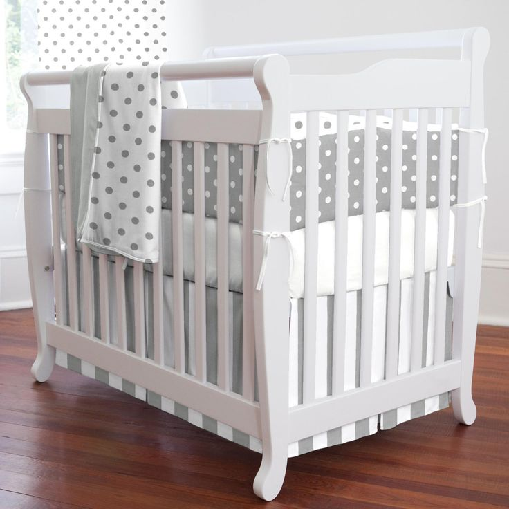 Gray and White Dots and Stripes Portable Crib Bedding for Your Baby's Nursery by Carousel Designs.