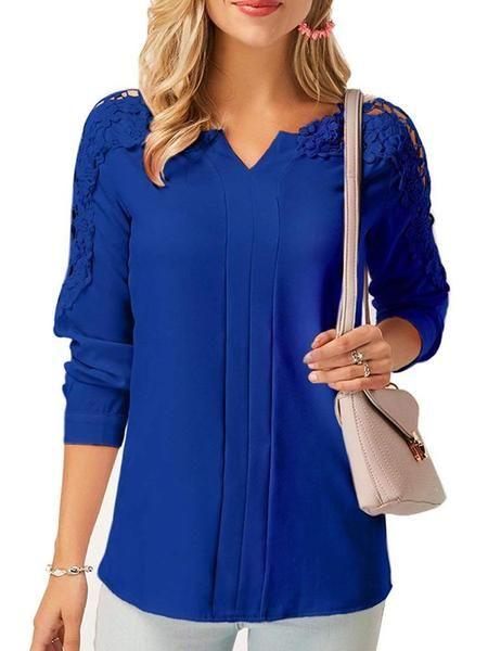 Lace Panel Long Sleeve Blouse