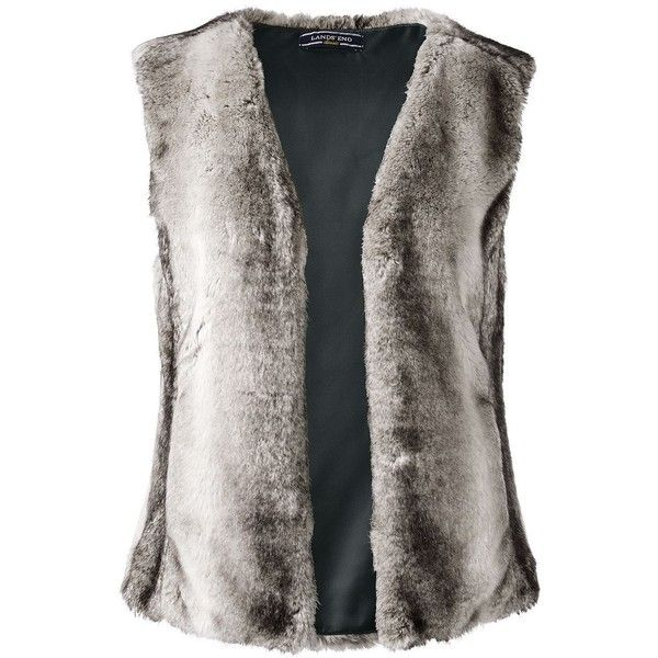 Lands' End Women's Petite Faux Fur Vest ($189) ❤ liked on Polyvore featuring outerwear, vests, neutral, vest waistcoat, faux fur waistcoat, lands' end, petite vests and lands end vest