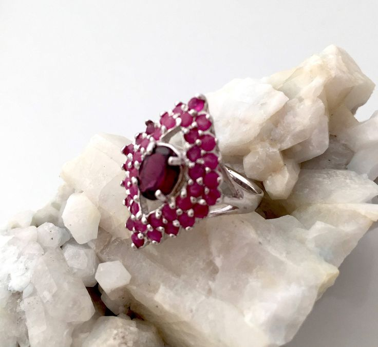 Natural Rich Red RHODOLITE GARNET & African RUBY, 14k White Gold and 925 Sterling Silver, Precious Ring Jewellery Sz 6.5. by AmeogemPreciousJewel on Etsy