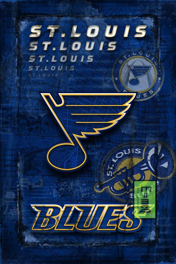 St. Louis Blues Hockey Poster, Blues Hockey Print, STL Blues in front                       – McQDesign