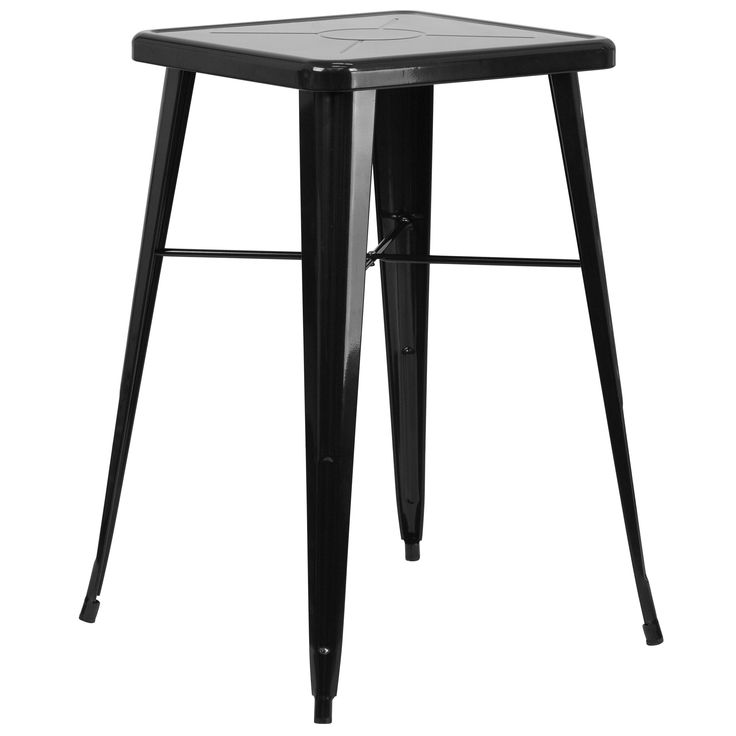 Flash Furniture Square Metal Indoor/Outdoor Bar Height Table (Black), Patio  Furniture