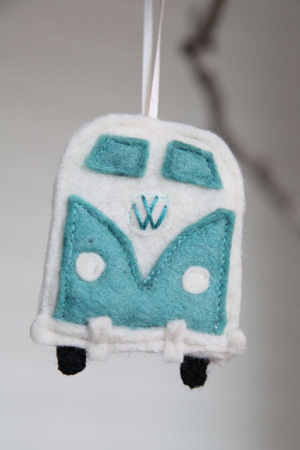 teal VW bus ornament - recycled felted wool - FREE Shipping. $12.00, via Etsy.