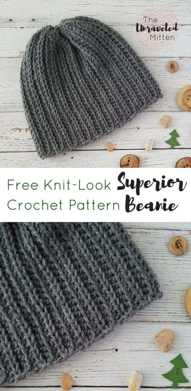 Superior Beanie   Free Crochet Pattern   The Unraveled Mitten    Knit Look Crochet   #menscrochethat #crochet #freecrochetpattern