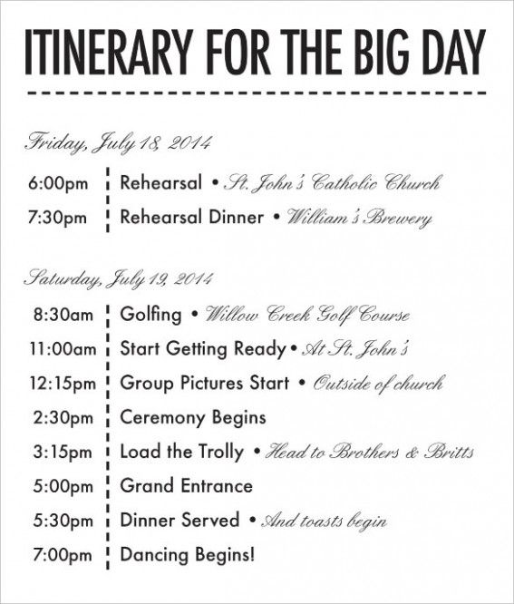 26 Wedding Itinerary Templates Free Sample Example Format Weddingday Itineraryforbridalparty