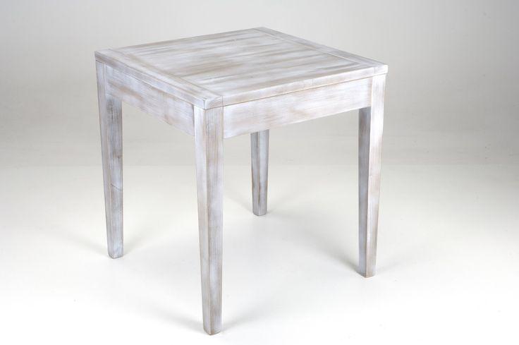 Table 125. Dove-grey varnished table with brushed effect  made of toulipier wood and a square surface. Tavolo 125. Tavolo in legno di toulipier con piano quadrate, tinto tortora con effetto spazzolato.