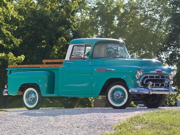 Half Truck Half Tractor Trailer Pick Up : Chevrolet turquoise and white pick up truck