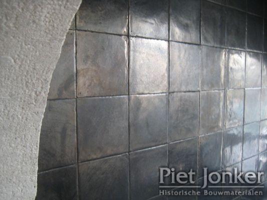 Handmade tiles with metallic glaze