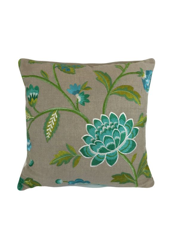 "Manuel Canovas Carla pillow cover in Turquoise  20"" x 20"" Stunning Embroidered Fabric"