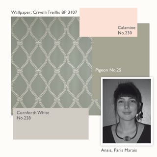 Soothing paint color and wallpaper. Farrow + Ball