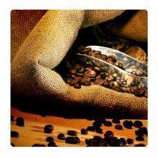 Kávészemek zsákban falikép