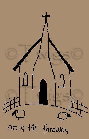Image detail for -... - Primitive Church House Stitchery E Pattern (Powered by CubeCart