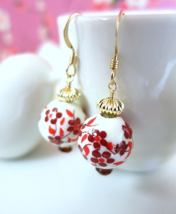 Ceramic red cherry blossom Chinese gold earrings by KBlossoms
