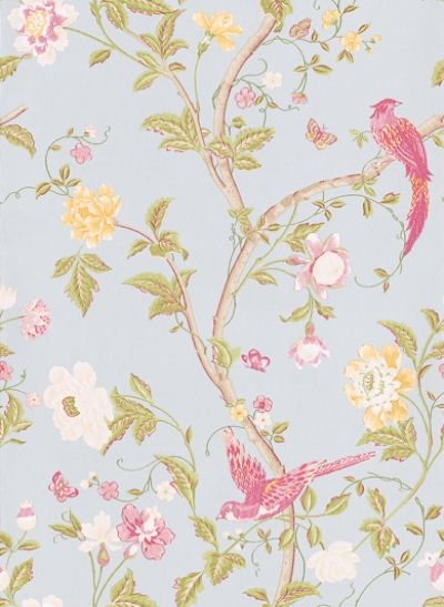 Summer Palace Duck Egg (3308217) - Laura Ashley Wallpapers - A beautiful and elegant design of an oriental floral-trail of cherry blossoms and dainty birds in pastel shades on a stunning background of duck-egg blue. Additional colourways also available. Please request a sample for true colour match.