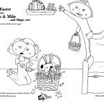 Free Printable Coloring Page: Happy Easter from Lulu & Milo, characters in the children's book Absolute Muyhem, by Kelly Suellentrop. Learn more at KellySuellentrop.com  #kidlit #kids #art #coloringpage