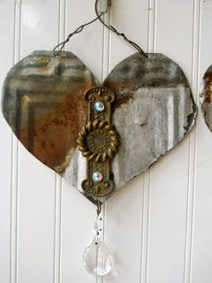 Hope and Joy Home: Upcycled Vintage roof tin, antique hardware and chandelier prism hearts Flea Market Hearts