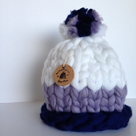 ˜˜READY TO SHIP˜˜  A stylish super chunky hat to keep you warm this winter. This hat is made of a wool blend, so soft and silky!  All hats are made by me with my utmost care and love in smoke- and pet free environment. ********************** CHARACTERISTICS: ********************** Color: navy, purple, and white. With a pom pom of all three colors. Yarn: wool blend Size: 58cm (23inch)  !IMPORTANT! This hat is one size fits all. However, to make sure its a right fit for you please measure your…