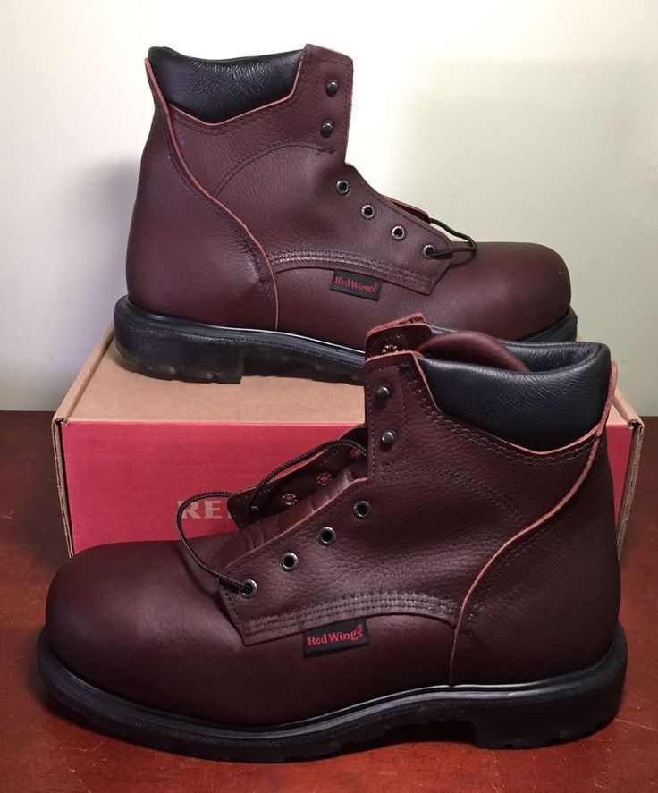 Red wing boots 2406 steel toe safety work boots leather