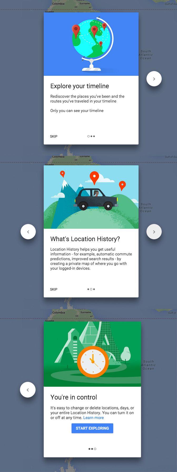 Google MAps Timeline onboarding