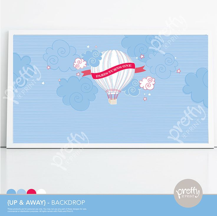 Printable Dessert Table Party Backdrop  Hot Air Balloon Blue www.prettyandprint.com/blog www.etsy.com/shop/prettyandprint #printable #backdrop #hot #air #Balloon #party