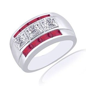 1.92Ct Baguette July Birthstone Ruby With Zircon Sterling Silver Gents Ring by JewelryHub on Opensky