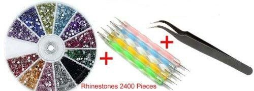 So Beauty Colorful Rhinestones 1pcs Nail Art Tweezer and 5pcs 2 Way Marbleizing Dotting Pen Set -- See this great product.
