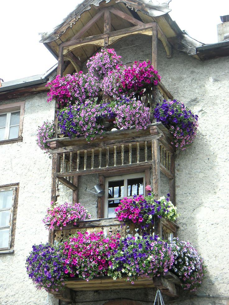 -Spectacular display of color on balcony in Switzerland. Must be glorious when standing on the balcony. | At BBG&G Advertising in the Hudson Valley, we understand the importance of color. www.bbggadv.com