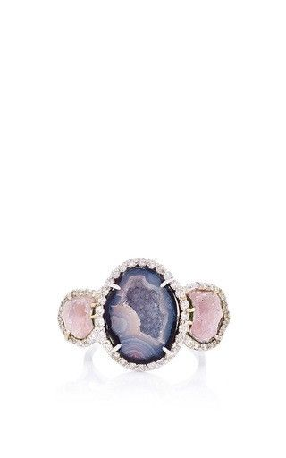 One of a kind kimberly mcdonald purple and pink triple geode and diamond ring by KIMBERLY MCDONALD Preorder Now on Moda Operandi