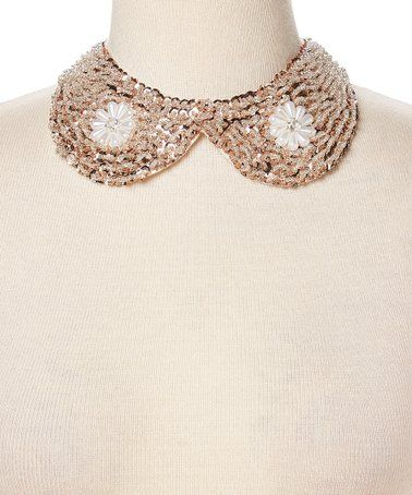 deb15b410c1 Another great find on  zulily! White Hand-Beaded Floral Collar ...