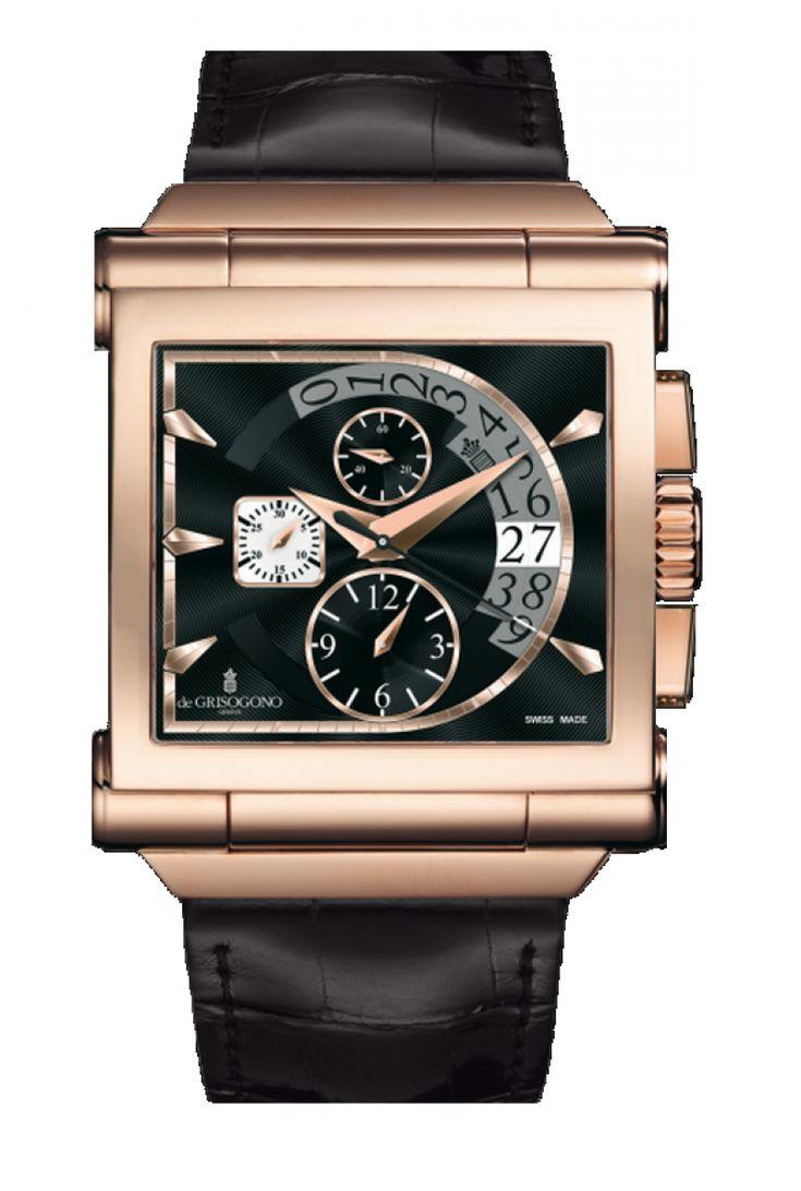 deGrisogono CHRONO N01 Grande Instrumento - швейцарские мужские часы наручные, золотые, черные