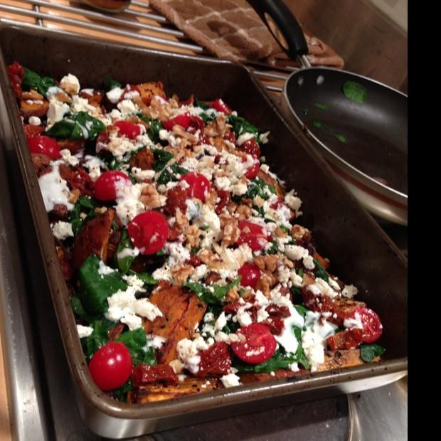 Sweet Potato And Red Onion Bake With Spinach, Sun Dried Tomatoes And Feta Recipe with 15 ingredients Recommended by 1 users.