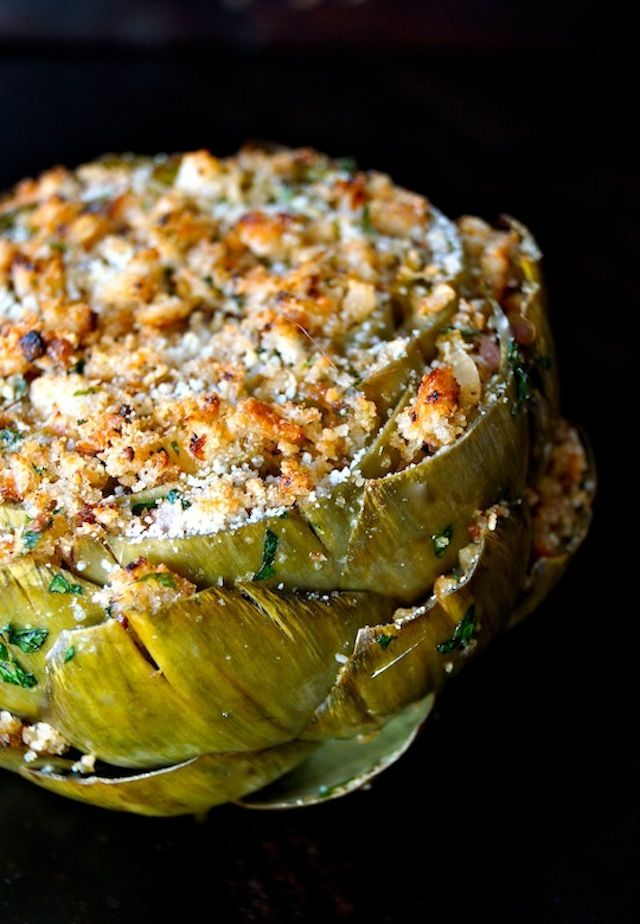 Lemon Garlic Stuffed Artichoke