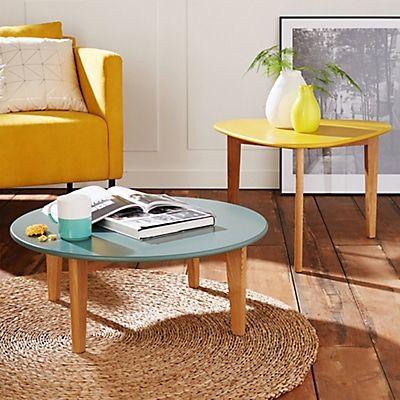Ensemble de 2 tables basses vintage scandinave jaune et verte