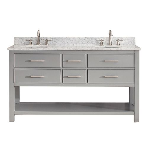Brooks Chilled Gray 60 Inch Vanity Combo With Carrera White Marble Top Avanity Vanities Ba