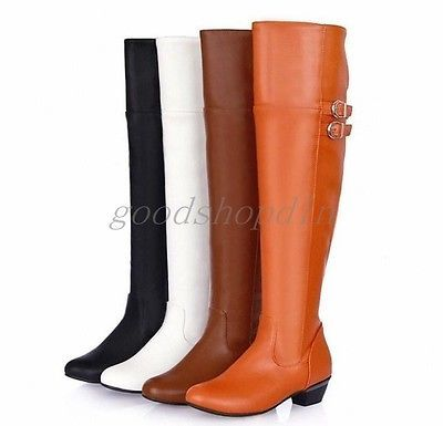 Womens-Knight-Boot-Faux-Leather-Knee-High-Boots-Riding-Boots-Size-US5-US12-5