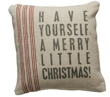 Have Yourself A Merry Little Christmas Linen Burlap Pillow Stenciled Look $10.99 available at Nanalulus Linens and Handkerchiefs