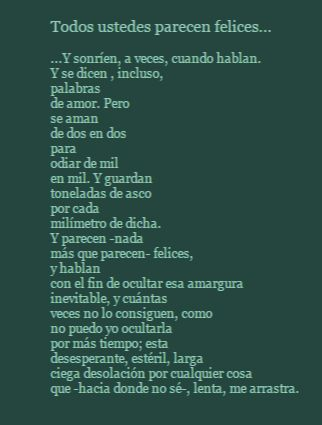 """Todos ustedes parecen felices"" de Ángel González"