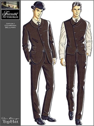 Waiter uniform fine dining and sketches on pinterest for Hotel design jersey