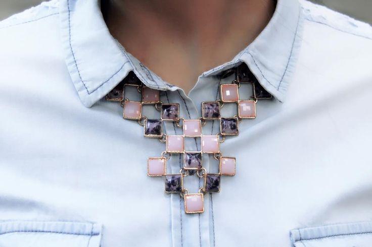 Geometric neckpiece #rosequartz #marblepurple