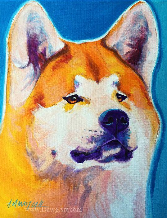 Pet Portrait, Akita, Dog Art, Paper Print, Canvas Print, DawgArt, FREE SHIPPING, Colorful