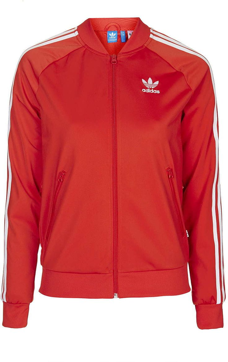 Womens poppy super girl track top jacket by adidas originals - red, red from Topshop - £55 at ClothingByColour.com