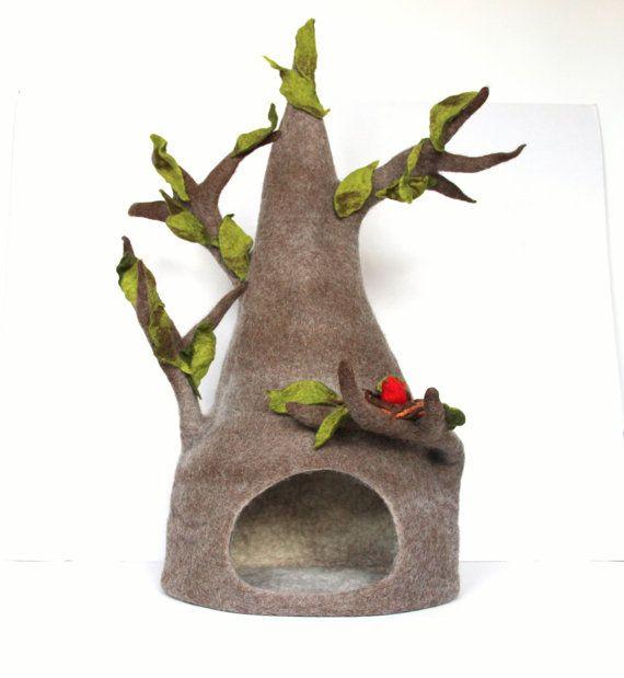 Gatto di casa - letto gatto / cave da lana naturale - albero tiragraffi lana - su ordinazione