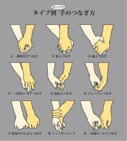 "aedantynnan: "" wasashoot: "" Different ways to hold hands ""各CPでこのつなぎ方どれか知りたい。"" @haku_origi_bl (Twitter) "" Number eight just looks aggressive! """
