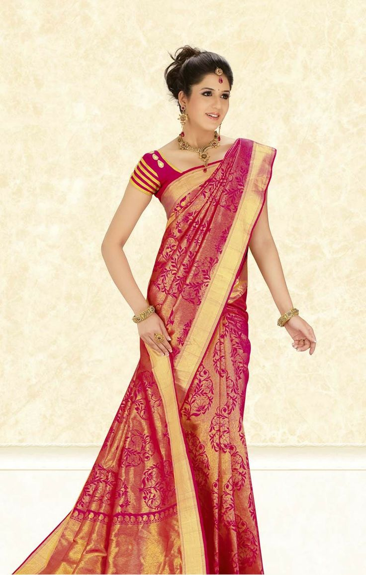kanchipuram silk saree bridal red - Google Search